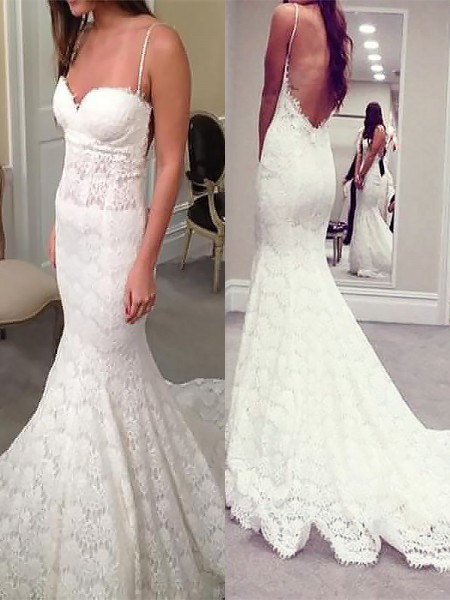 Trumpet/Mermaid Sleeveless Lace Spaghetti Straps Court Train Wedding Dresses