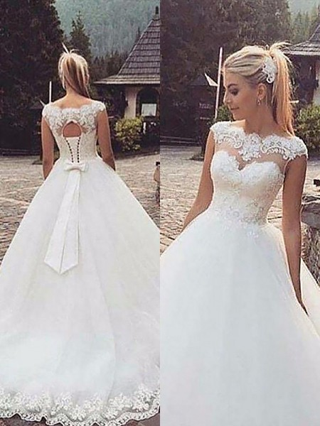 Ball Gown Sleeveless Tulle Bateau Court Train Wedding Dresses