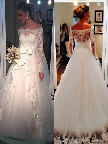 Ball Gown Long Sleeves Tulle Off-the-Shoulder Sweep/Brush Train Wedding Dresses