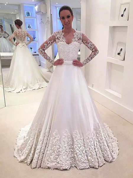 A-Line/Princess Long Sleeves Satin V-neck Sweep/Brush Train Wedding Dresses
