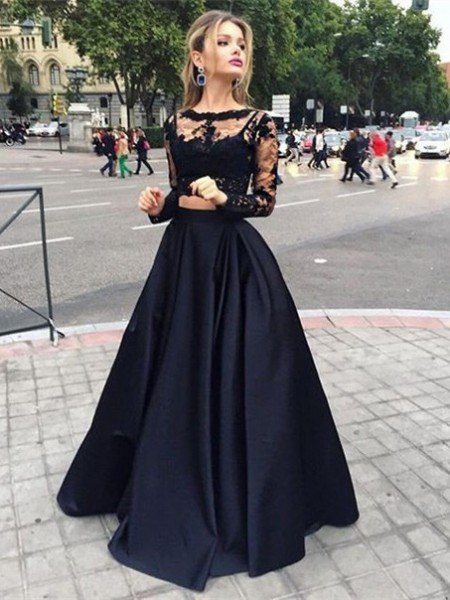 Ball Gown Long Sleeves Satin Bateau Beading Floor-Length Dresses