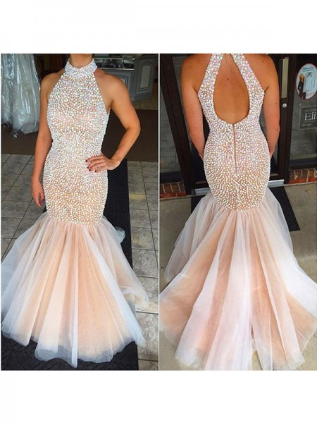Trumpet/Mermaid Sleeveless Tulle Halter Beading Floor-Length Dresses