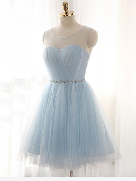 A-line/Princess Sleeveless Tulle Scoop Beading Short/Mini Dresses
