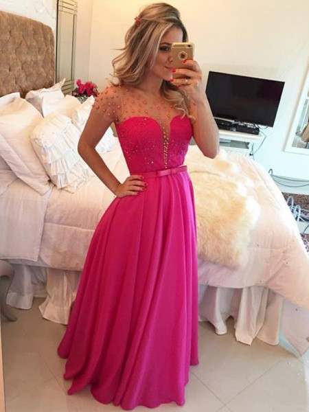 A-Line/Princess Short Sleeves Chiffon Scoop Beading Floor-Length Dresses