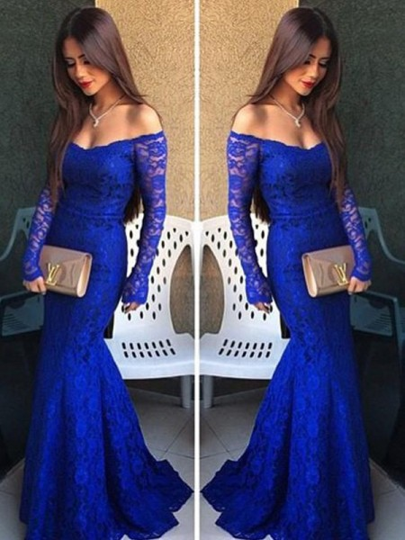Trumpet/Mermaid Long Sleeves Lace Off-the-Shoulder Lace Sweep/Brush Train Dresses