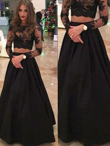 A-Line/Princess Long Sleeves Lace Scoop Lace Floor-Length Dresses