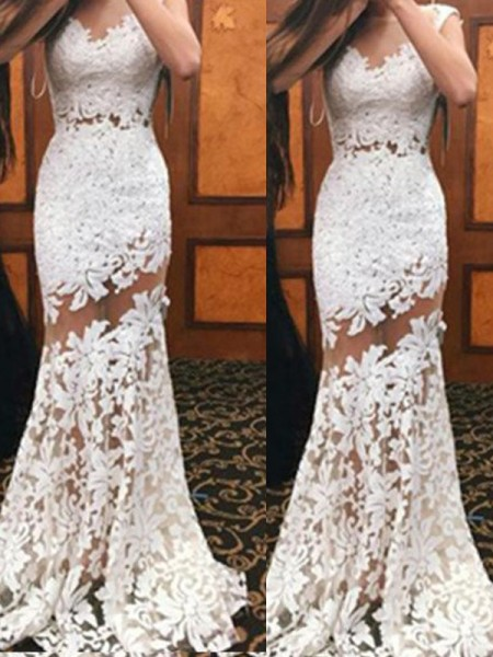Trumpet/Mermaid Sleeveless Lace Scoop Sweep/Brush Train Dresses