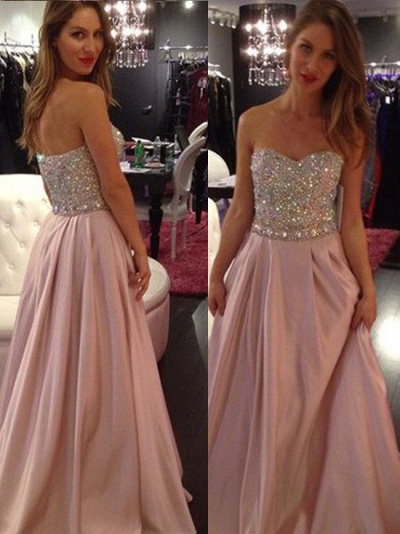 A-Line/Princess Sleeveless Chiffon Sweetheart Beading Floor-Length Dresses