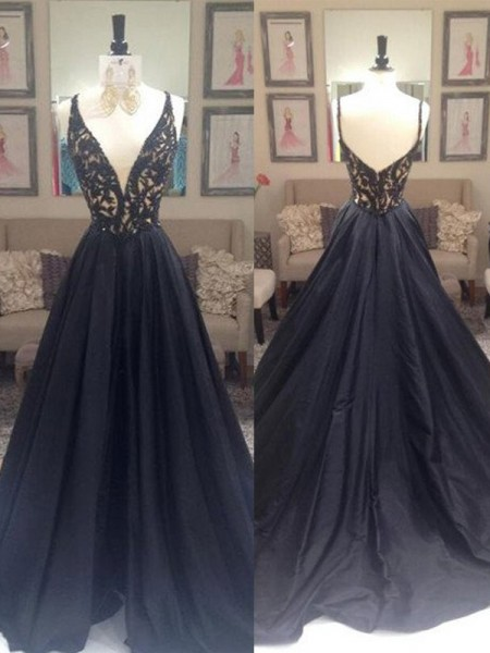 A-Line/Princess Sleeveless Taffeta V-neck Beading Sweep/Brush Train Dresses