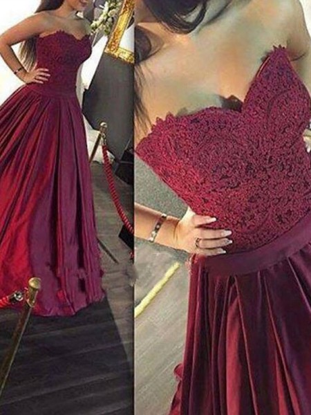 A-Line/Princess Sleeveless Satin Sweetheart Lace Floor-Length Dresses