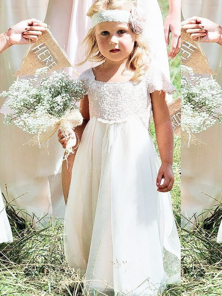 A-line/Princess Square Floor-Length Short Sleeves Chiffon Flower Girl Dresses