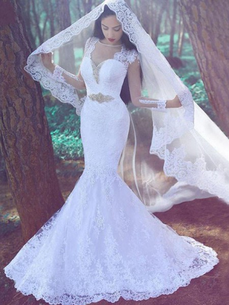 Trumpet/Mermaid Long Sleeves Lace Sweetheart Applique Court Train Wedding Dresses