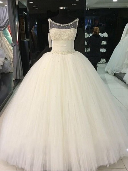 Ball Gown Sleeveless Tulle Scoop Beading Floor-Length Wedding Dresses