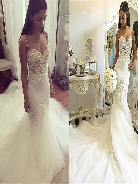 Trumpet/Mermaid Sleeveless Tulle Spaghetti Straps Chapel Train Wedding Dresses