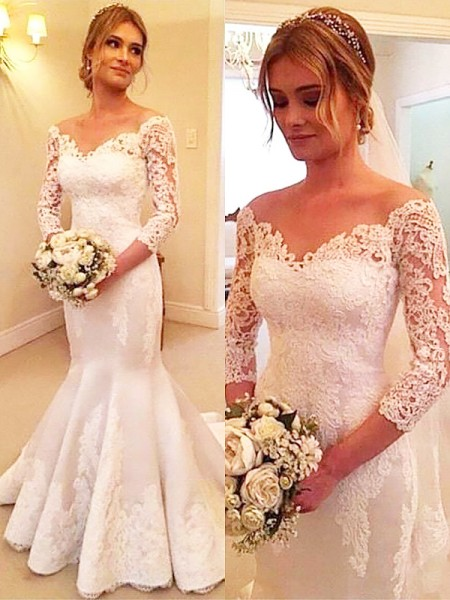 Trumpet/Mermaid 3/4 Sleeves Satin Off-the-Shoulder Court Train Wedding Dresses