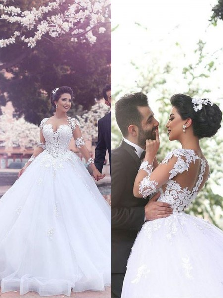 Ball Gown Long Sleeves Tulle Sweetheart Court Train Wedding Dresses