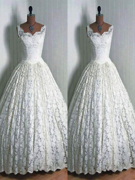 Ball Gown Sleeveless Lace Sweetheart Floor-Length Wedding Dresses