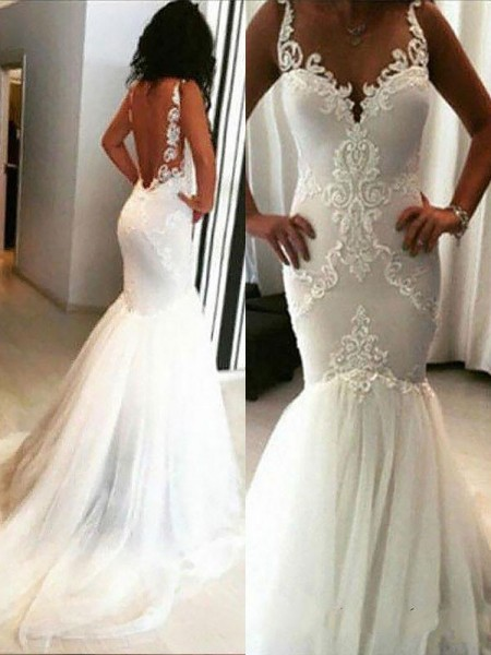 Trumpet/Mermaid Sleeveless Tulle Spaghetti Straps Applique Chapel Train Wedding Dresses