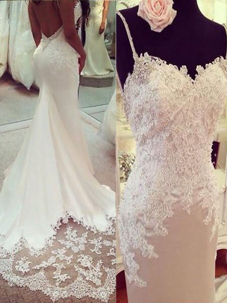 Trumpet/Mermaid Sleeveless Satin Spaghetti Straps Applique Court Train Wedding Dresses
