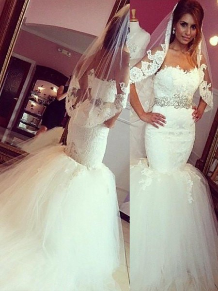 Trumpet/Mermaid Sleeveless Tulle Sweetheart Court Train Wedding Dresses