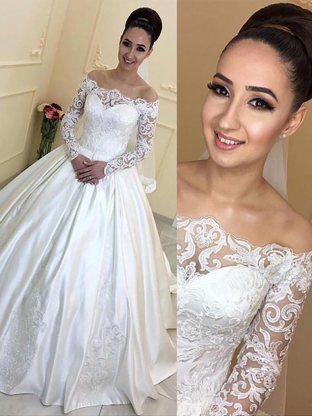 Ball Gown Long Sleeves Satin Off-the-Shoulder Court Train Wedding Dresses