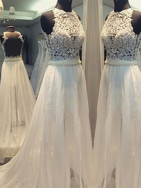 A-Line/Princess Sleeveless Chiffon Scoop Sweep/Brush Train Wedding Dresses
