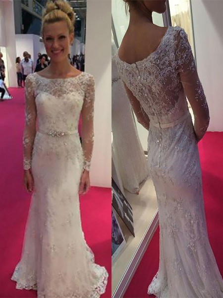 Sheath/Column Long Sleeves Chiffon Scoop Lace Sweep/Brush Train Wedding Dresses