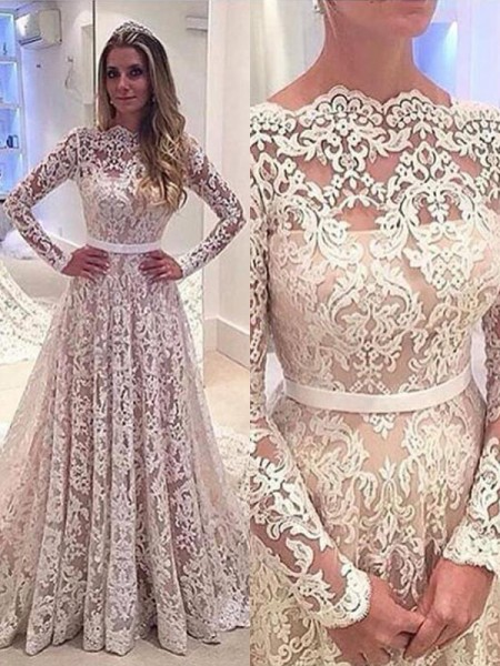 A-Line/Princess Long Sleeves Lace Bateau Court Train Wedding Dresses