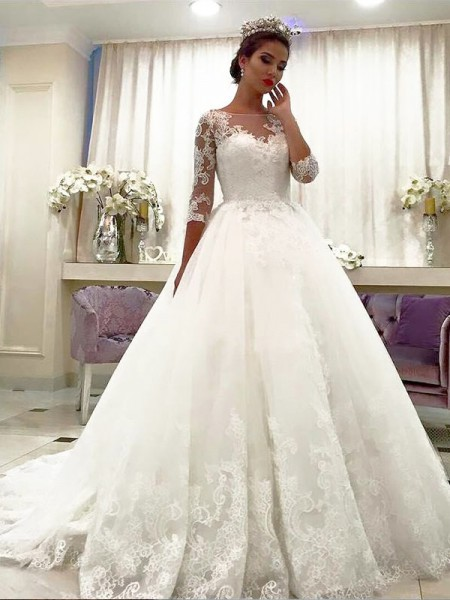 Ball Gown 3/4 Sleeves Tulle Bateau Court Train Wedding Dresses
