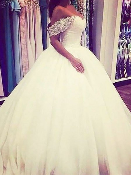 Ball Gown Sleeveless Tulle Off-the-Shoulder Beading Sweep/Brush Train Wedding Dresses