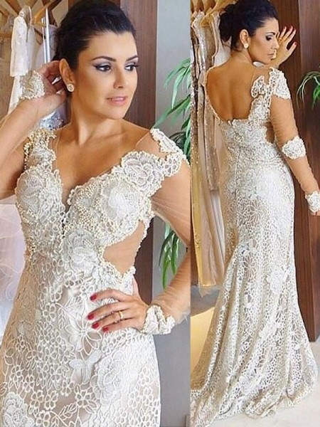 Sheath/Column Long Sleeves Lace V-neck Sweep/Brush Train Wedding Dresses