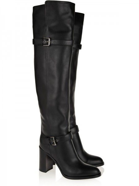 Women's Chunky Heel Cattlehide Leather With Buckle Knee High Black Boots