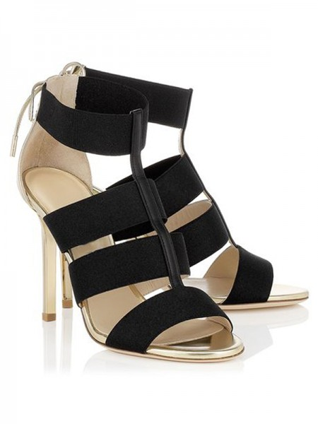 Women's Stiletto Heel Suede Peep Toe With Lace-up Sandals Shoes