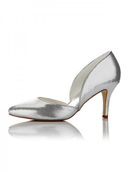 Women's PU Closed Toe Stiletto Heel Wedding Shoes