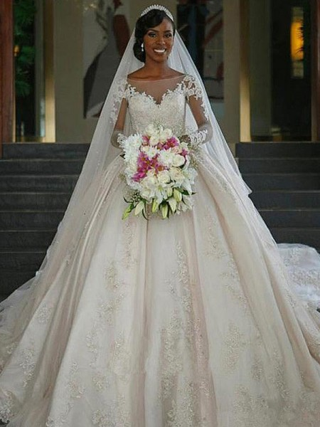 Ball Gown Long Sleeves Satin Sweep/Brush Train Bateau Applique Wedding Dresses