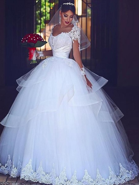 Ball Gown Long Sleeves Tulle Floor-Length Sweetheart Wedding Dresses