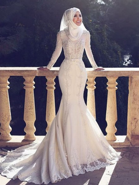 Trumpet/Mermaid Long Sleeves Tulle Sweep/Brush Train Jewel Wedding Dresses