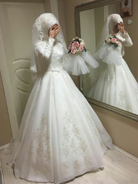 Ball Gown Long Sleeves Tulle Floor-Length Jewel Bowknot Wedding Dresses