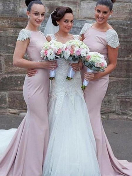 Trumpet/Mermaid Sleeveless Satin Sweep/Brush Train Bateau Beading Bridesmaid Dresses
