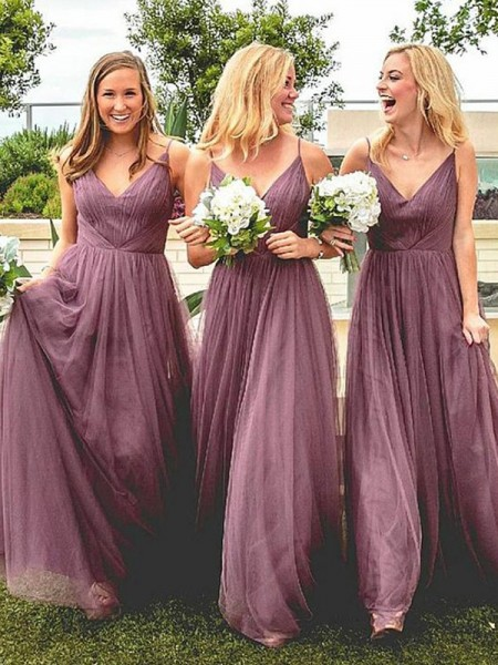 A-Line/Princess Sleeveless Tulle Floor-Length Spaghetti Straps Ruffles Bridesmaid Dresses