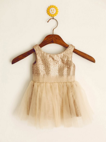 A-Line/Princess Scoop Floor-Length Sequin Sleeveless Sequins Flower Girl Dresses