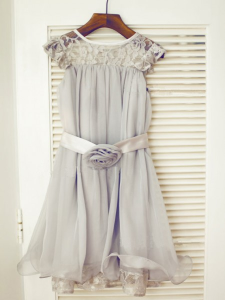 A-Line/Princess Scoop Tea-Length Sleeveless Chiffon Flower Girl Dresses