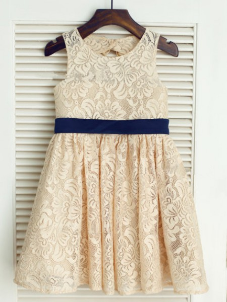 A-Line/Princess Scoop Tea-Length Bowknot Sleeveless Lace Flower Girl Dresses