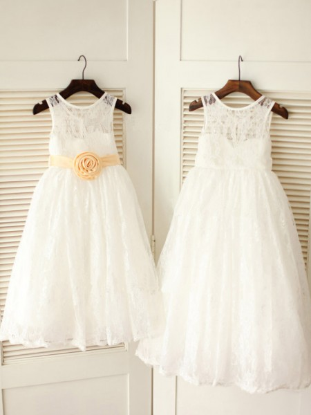 A-Line/Princess Scoop Ankle-Length Sash/Ribbon/Belt Sleeveless Lace Flower Girl Dresses